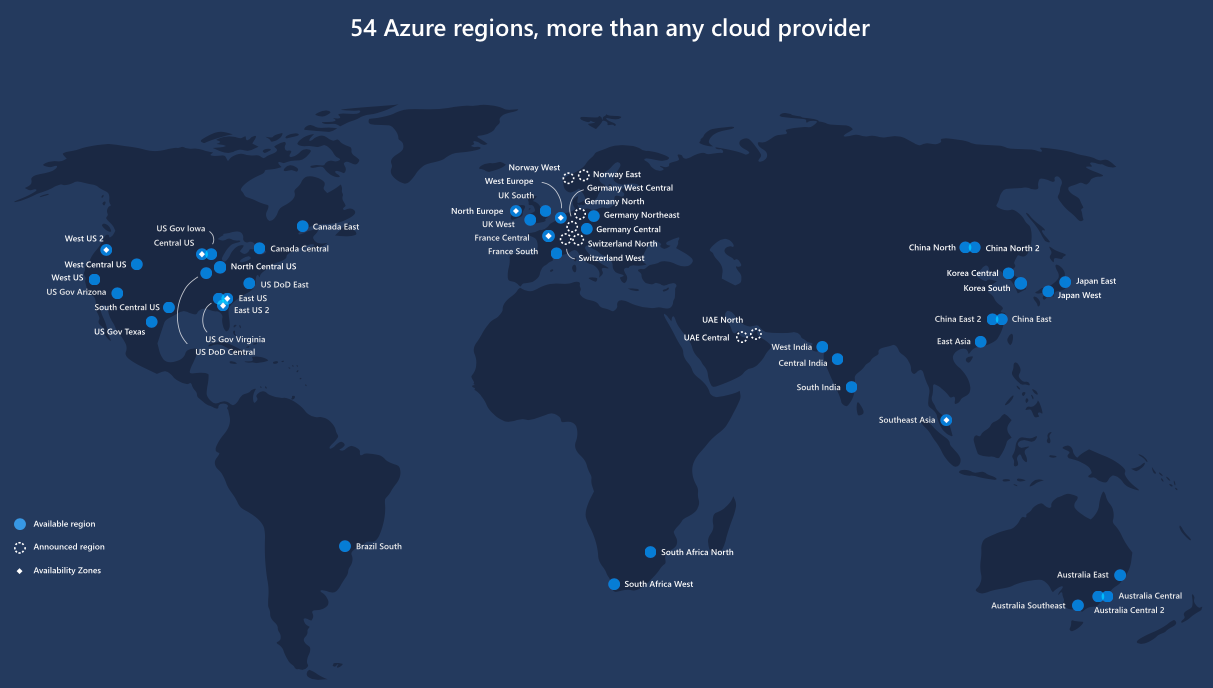 Microsoft Azure Region Map - South us region map