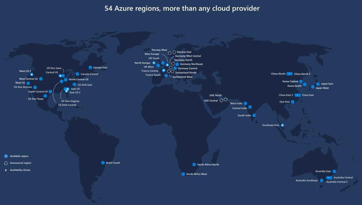Microsoft Azure Region Map - Us-east-region-map